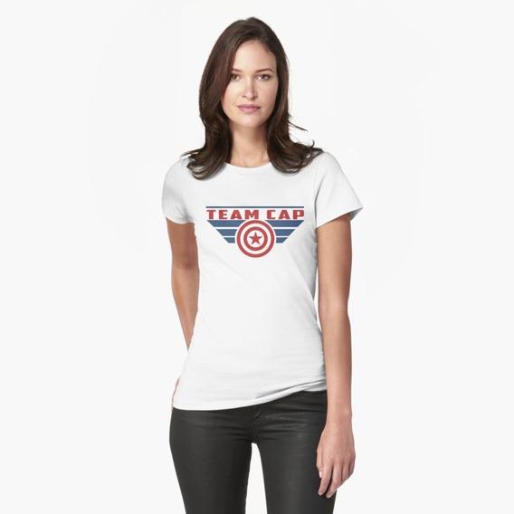 Camiseta Camisa Team Cap Capitão America Marvel Feminino
