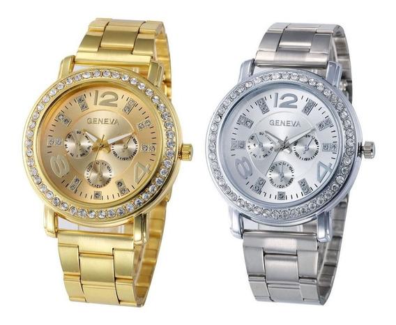 Kit 02 Relógios Femininos Originais 2626 Dourado Prata Rosê