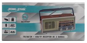 Radio Retro Vintage 3 Faixas Fm Am Sw Bluetooth Mp3 Sub