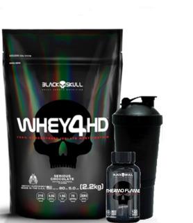 Whey 4hd - Refil - 2.2kg Baunilha+thermo Flame 60caps+coquet