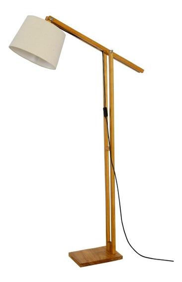 Luminária De Chão Piso Articulada Em Madeira Com Cúpula