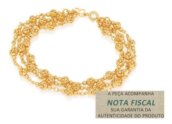 Pulseira Fio Globos Vazados F. Ouro 18k Rommanel 550814