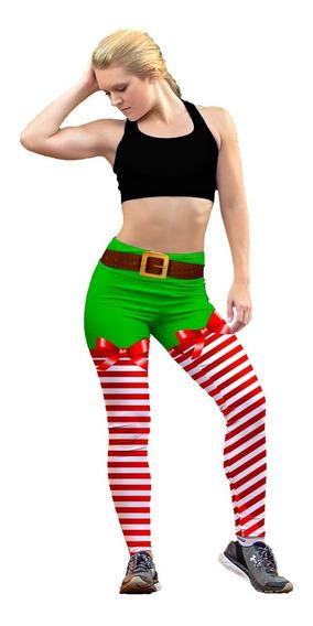 Leggin Dama Sublimado En Licra Duende Navidad Gym Bi-estrech