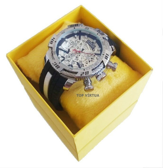 Relógio Masculino Grande Aço + Corrente + Caixa Ostentação
