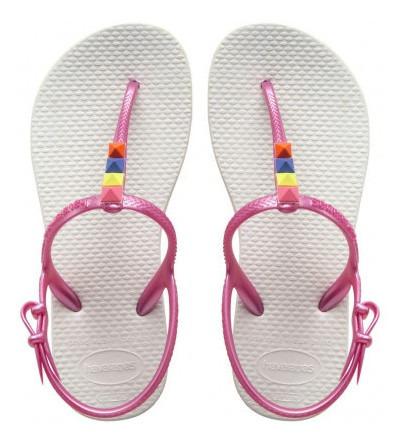 Ojotas Havaianas - Modelo Kid Freedom Blanco Pink