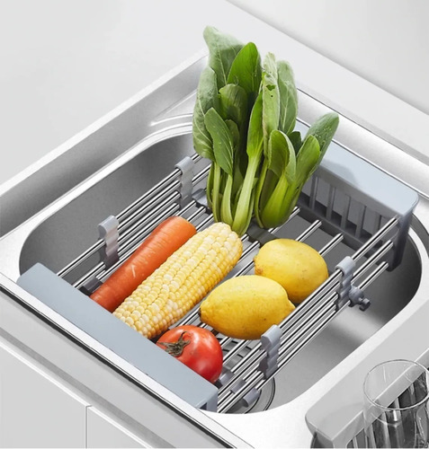 Imagen 1 de 8 de Secaplatos Extensible Para Bacha Escurridor Frutas Cocina