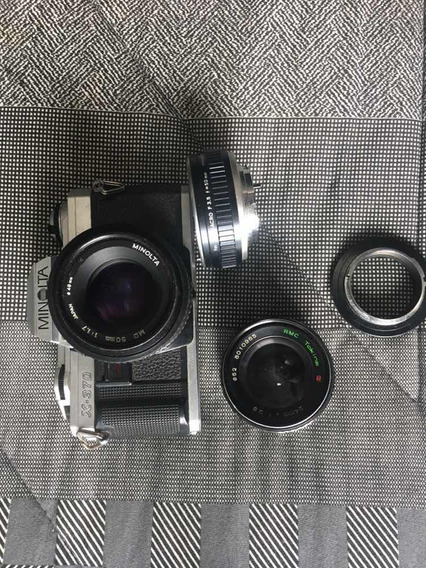 Câmera Analógica Minolta X 370 + Lente 50mm + Lente 24mm