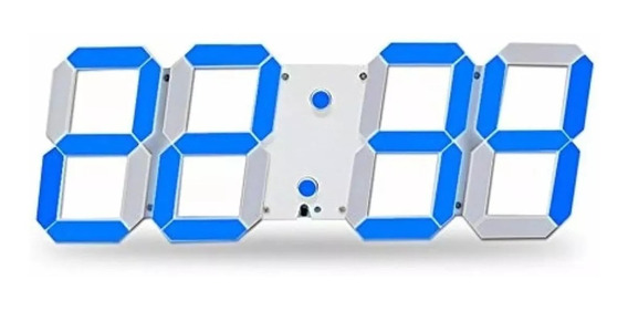 Reloj Digital Luminoso Números 3d Led, Alarma, Usb Azúl