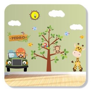 Adesivo Parede Infantil Arvore Safari Com Nome Brinde