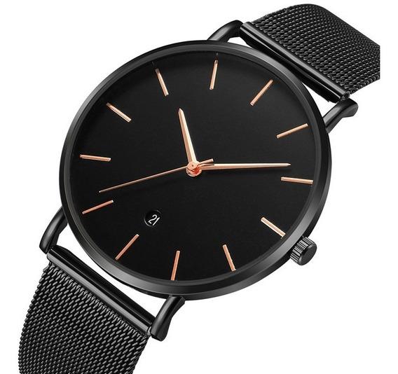 Reloj Metal Malla Caballero Clasico Elegante Fechador B249