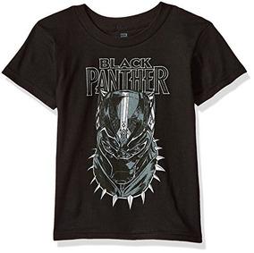 Marvel Boys Black Panther Movie Big Face Camiseta De Manga C