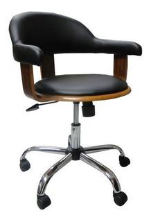Cadeira Escritório Com Rodinhas Walnut Wood Fullway