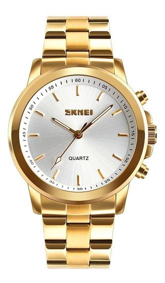 Relógio Dourado Skmei Pedômetro Bluetooth