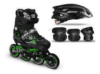 Patines Canariam Roller Team + Kit De Protección C4 +casco