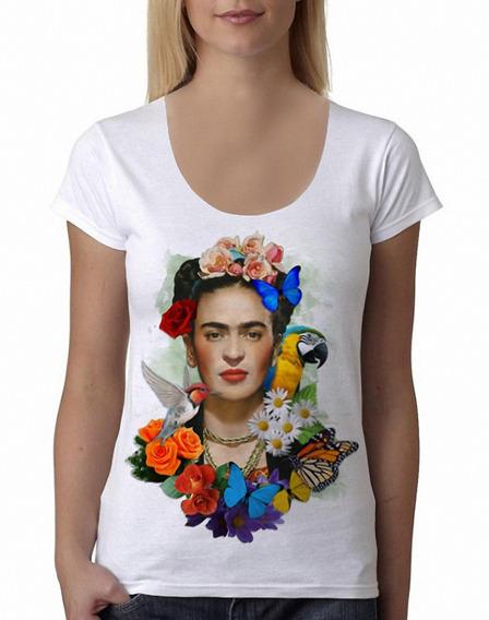 Remera Frida Kahlo 4 Mujer Manga Corta Blanca Purple Chick