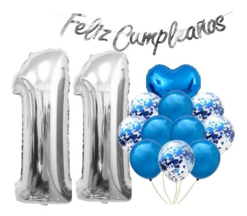 Kit Numero Metalizado + Paquete De Globos + Feliz Cumpleaños