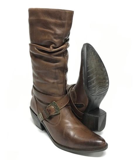 Bota Montaria Country Feminina Perlatto Bico Fino Salto Baixo 100% Couro - Super Confortável Com Costura Reforçada