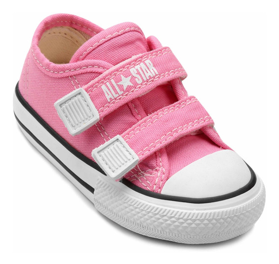 Tênis All Star Infantil De Velcro Rosa