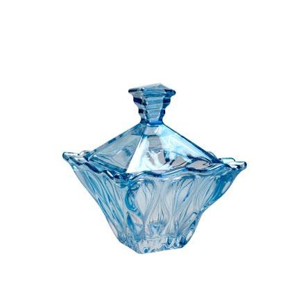 Bomboniere De Cristal Decoração Sala Linda Azul 14 Cm