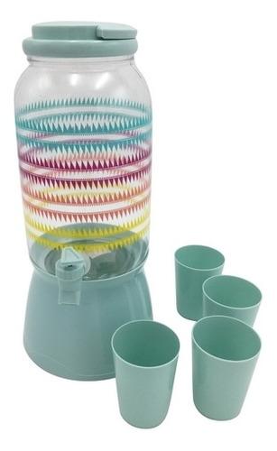 Imagen 1 de 7 de Dispensador De Líquidos De Plástico Con 4 Vasos,2.5l, Con So