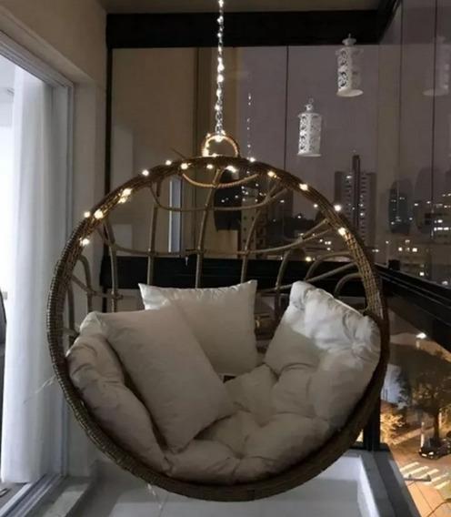 Cadeira Balanço Fibra Sintética Jardim Varanda Design Luxo