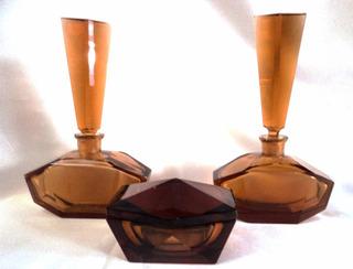 Juego De Tocador 2 Perfumeros Y Despojador Art Decó (195p)