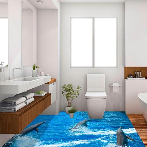 Adesivo De Piso Golfinhos 3d Para Porcelanato Líquido