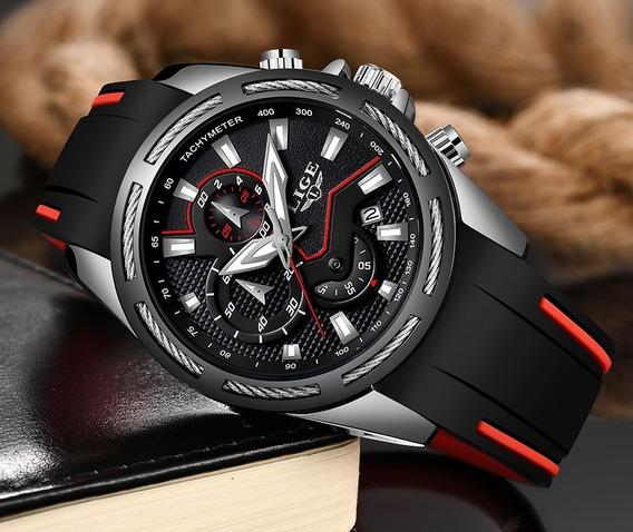 Relógio Pulso Luxo Silicone Aço Adulto Masculino Preto Lige
