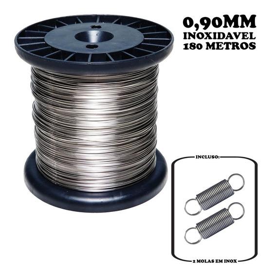 Fio De Aço Inox 0,90 Mm P/ Cerca Elétrica 180 Metro + Brinde