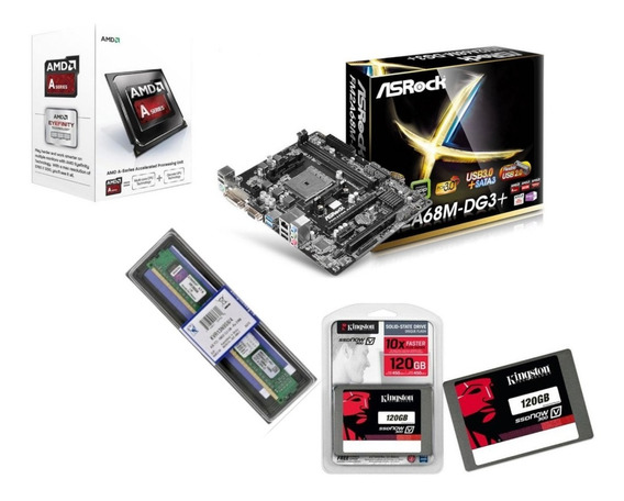 Kit Gamer A6 7480 Amd Fm2+ A68m-dg3 + Ddr3 4 Gb + Ssd 120 K