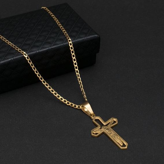Corrente Cordão Zoe Crucifixo C-15d Aço Banhado Ouro 70cm
