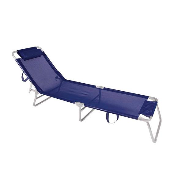 Cadeira Espreguiçadeira De Alum Mor Azul Marinho Praia Pisc