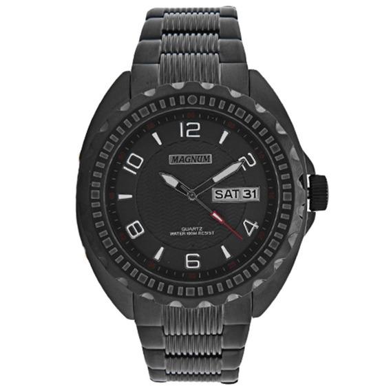 Relógio Magnum Preto Kit Com Pulseira De Couro Ma32452x