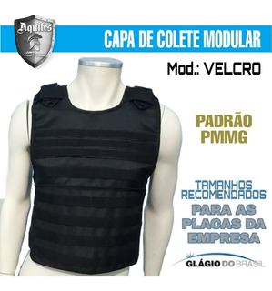 Capa De Colete Modular Velcro + 05 Acessorios - Preto