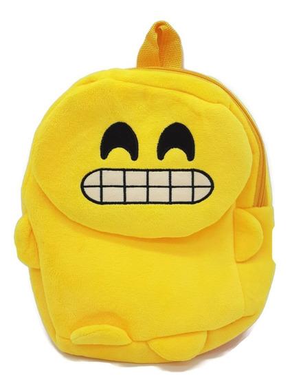 Bolso Mochila Escolar Emoji Carita Feliz Acolchado Felpa
