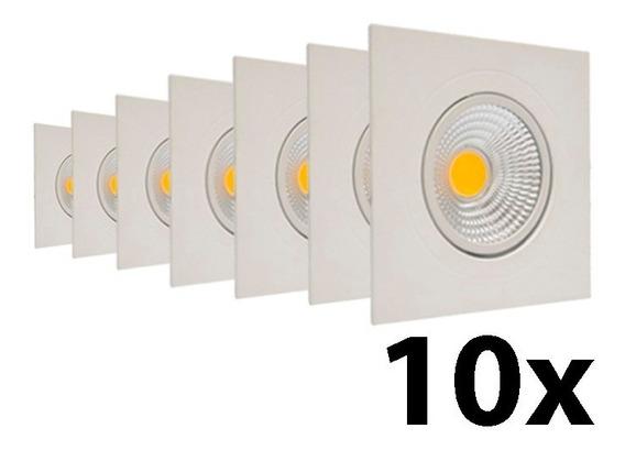 Kit 10 Spot Quadrado Embutir Direcionável Led 5w B Frio