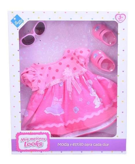 Ropa Para Bebote Bebe Muñeca Vestido + Lentes El Duende Azul