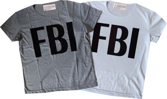 Camiseta Feminina Modinha Blusa Baby Look Fbi Atacado Barato