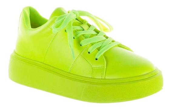 Tênis Feminino Verde Lima Neon Salto 4cm Zatz Damannu Shoes