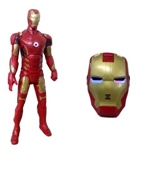 Kit Boneco Homem De Ferro Vingadores Marvel+ Máscara Com Led