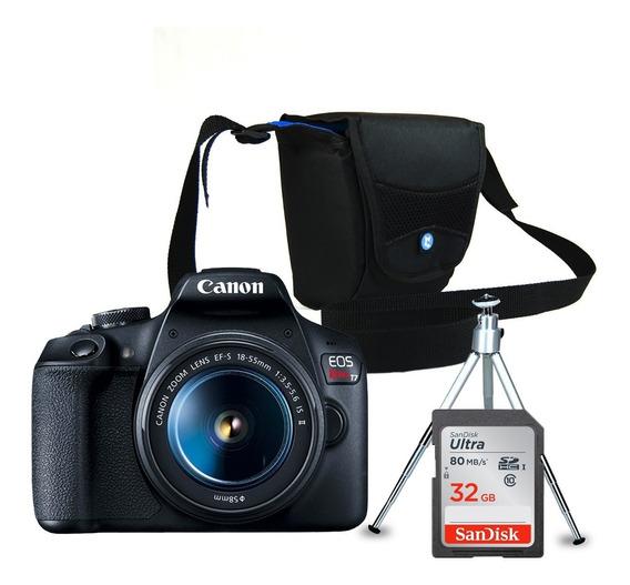 Câmera Canon Eos Rebel T7 + Bolsa + Cartão 32gb +mini Tripé