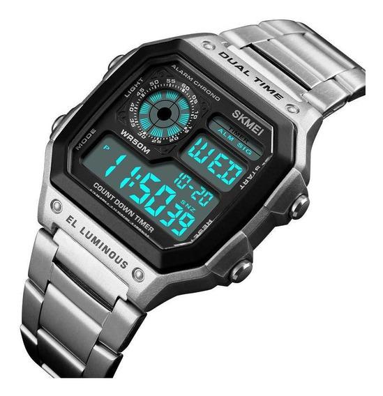 Relógio Digital Skmei 1335 Retrô Prata Prova D