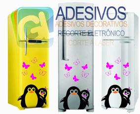 Adesivo De Geladeira Pinguins Casal E Borboletas Decorativo