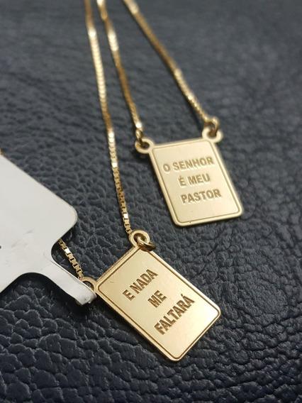 Escapulário Ouro 18k Frase Salmo 23 O Senhor É Meu Pastor