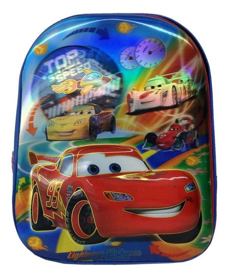 Mochila Escola Infantil Alto Relevo 3d Carros Azul Pequena