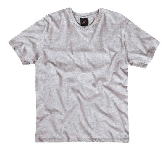 Camiseta Básica Masculina Mangas Curtas Com Decote V