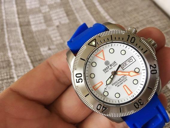 Deep Blue Automático 45mm Pro Tac 1000m Raro Vidro De Safira