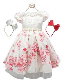 Vestido Infantil Moda Evangélica Dama Honra + 2 Acessórios