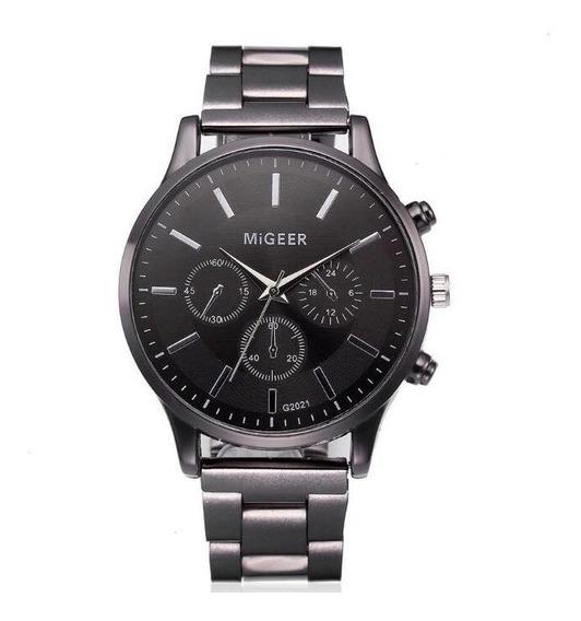Reloj Caballero Elegante Metalico Negro Moda Oferta Hombre
