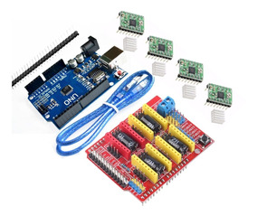 Kit Cnc Shield V3 + Arduino Uno R3 Cabo Usb + 4 Driver A4988